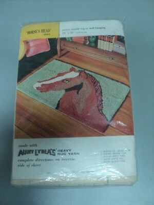 Vintage Aunt Lydia's Punch Needle Rug Or Wall Hanging Horse's Head # 645
