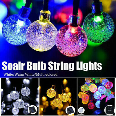 30LED Solar Powered Fairy String Lights Crystal Ball Lights Garden Outdoor Party