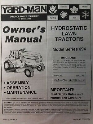 YARD-MAN MTD HYDROSTATIC Lawn Tractor ser  694 & Mower Implement Owners  Manual
