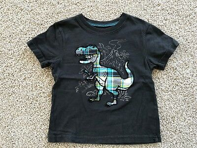 Jumping Beans Toddler Boys Black Applique Embroidered Dinosaur Shirt Sz 3T VGUC