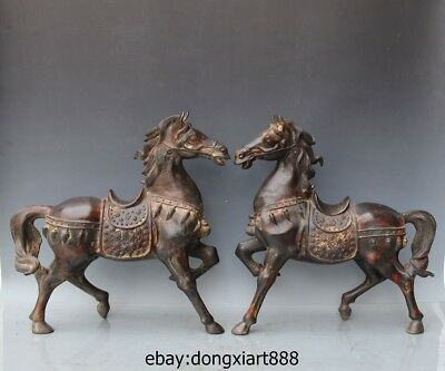 18 Chinese Zodiac Animal Pure Bronze Tang Horse equine Fengshui sculpture Statue