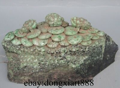 "14"" China Dushan Jade Three Foot Leg Bufonid Toad hoptoad Fengshui Wealth Statue"