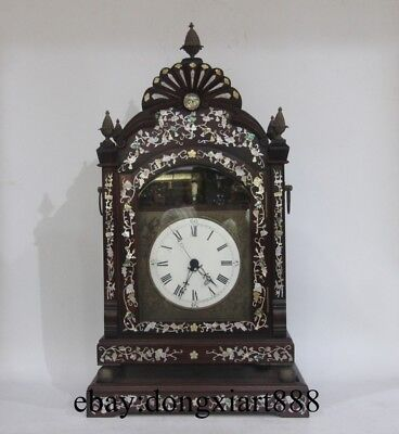 """31"""" Chinese Retro Bronze Red Wood Frame inlay Conch Mechanical Swing Table Clock"""