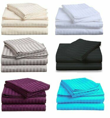 1000TC Cotton Blended Queen or King Size Bed Sheet Set (Stripe). 4 Pieces - New