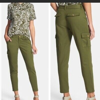 39bc13680 Kate Spade Womens Pants Olive Green Cargo Ankle Zipper Gold Detail Mid Rise  Sz 2