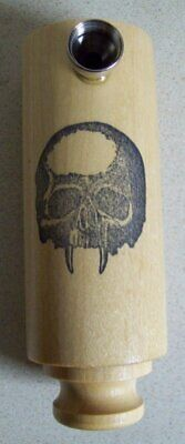 Skull with Fangs Wood tobacco pipe maple wood works great 6 inches NEW