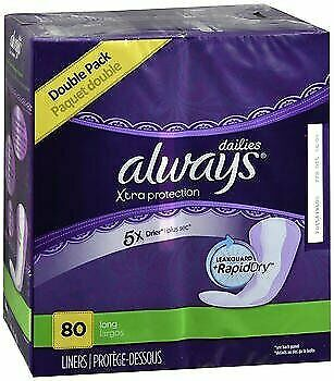 Always Xtra Protection Daily Liners Long Unscented 80 Count (Pack of 3)