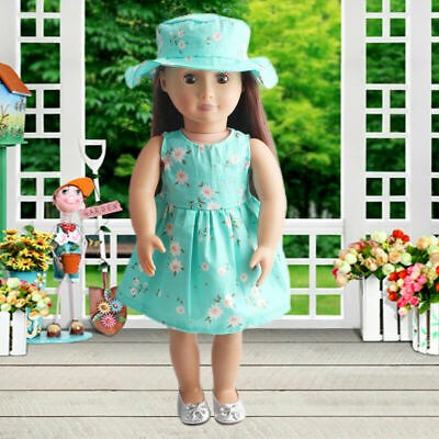 Summer Floral Dress Party For 18 Inch Girl Doll  Clothes Accessory