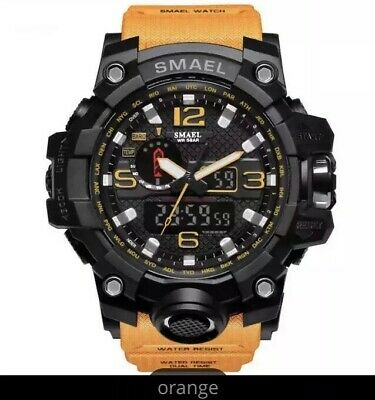 UK Mens  Smael Tactical Dual Display shock Digital  Sports Divers Watch Orange