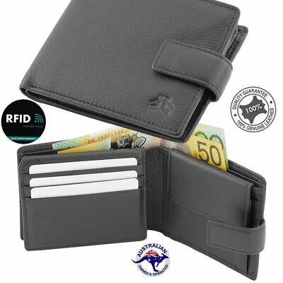 Men's Genuine Soft Leather Wallet RFID Blocking Bifold Anti-Theft Security Bla