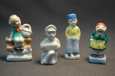 4PC Porcelain Vintage Miniature People Figurines Japan