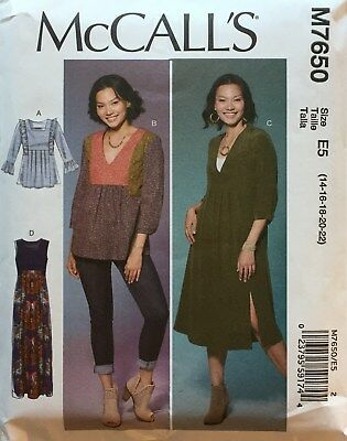 14-22 McCall's M7890 New Spring Pattern Uncut Misses Tunic /& Dress Size E5
