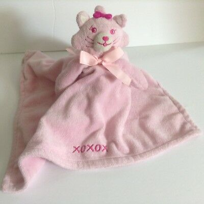 Honey Bunny Pink Cat Security Blanket Lovey XOXOX embroidery