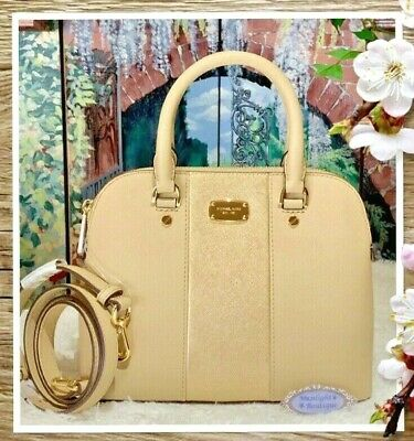 3f2891788c6176 NWT Michael Kors CINDY SMALL Dome Satchel Met CENTER STRIPE Leather  BISQUE/Gold
