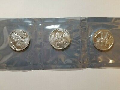 Lot Of 3 - The Welsh 1 Oz Silver Round - 2Nd Release World Of Dragons Series