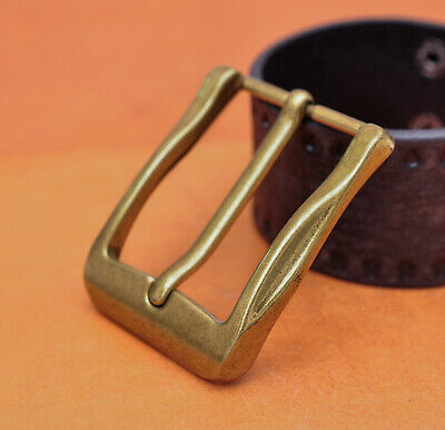 40mm Cool Solid Antique Brass Casual Men Single Pin Prong Leather Belt Buckle