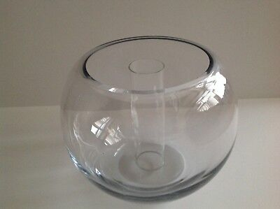 Antique Hand Blown Glass Bowl w/ Cylinder Vase in Center Bohemian Crystal Czech