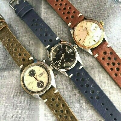 Vintage Italian Genuine Calf Leather Rally GT Racing Watch Strap H/M 18 20 22mm