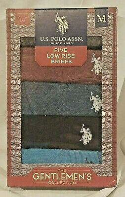 US Polo Assn Low Rise Briefs 5 Pack M Gray Blue Red 100% Cotton SHIPS FREE!