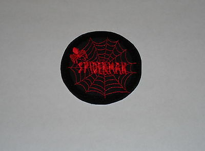 "Superhero ""Spiderman"" Black & Red- Spider & Web- Iron-On Embroidered Patch"
