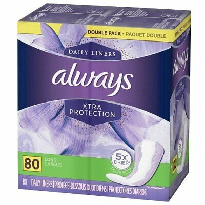 Always Xtra Protection Daily Liners Long Unscented 80 Count (Pack of 24)