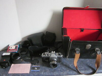 Vintage Pentax Spotmatic SP2 SLR Film Camera with Lens and Accessories