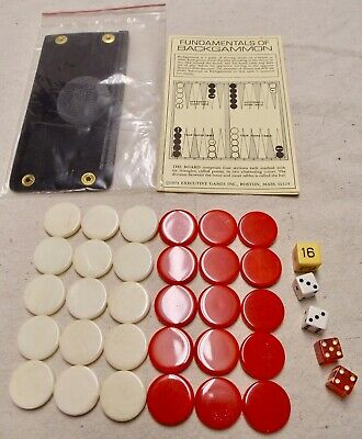 Vtg Backgammon 30 Pieces, 5 Dice, Instructions, Shaker Cup,1973 Executive Games