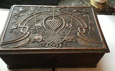 "Antique Ornate Hand Carved Large Wood Jewelry/Document Box-15.5"" X 10.25"" X 5.5"""