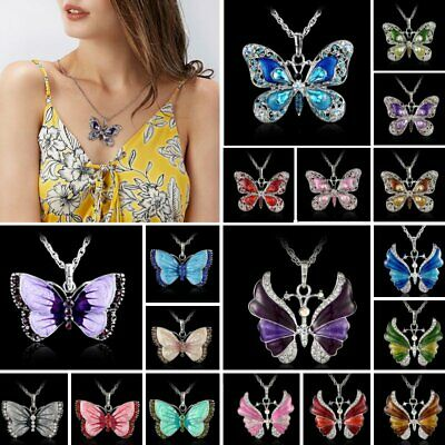 Fashion Crystal Rhinestone Enamel Butterfly Pendant Necklaces Sweater Chain Gift