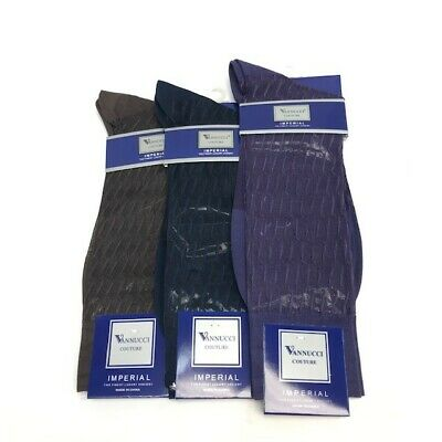 Men's Vannucci Couture 100% Nylon Dress Socks Size 10 - 13  Assorted Colors
