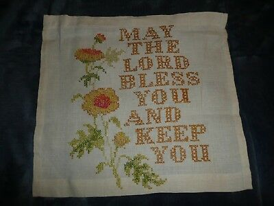 Vtg 1970's Keep The Home Fires Burning Completed Finished Cross Stitch Sampler Collectibles