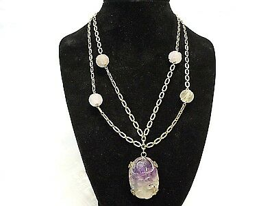 Antique Chinese Carved Amethyst Pendant Shou Beads Silver / Gold Necklace