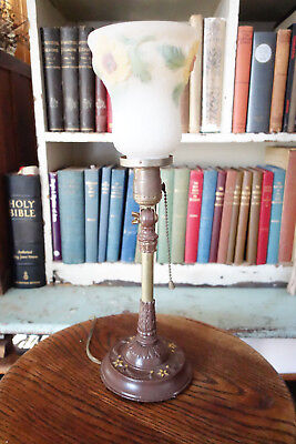 Victorian Lamp Cast Iron Base Hand w TWO Painted Glass Shades Table Lamp Bedside