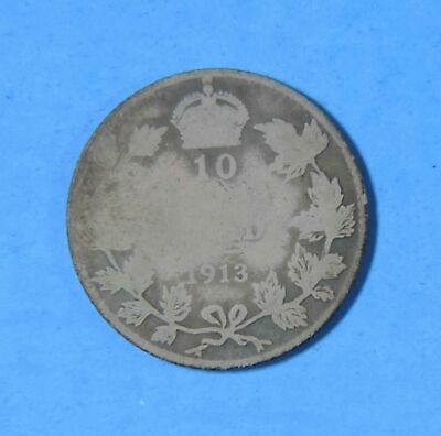 1913 Canada George V Broad Leaves Variety Silver 10 Cents Coin