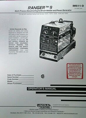 Lincoln Ranger 9 Welder Generator & Onan P218 Gas Engine Operator's Manual 42pg