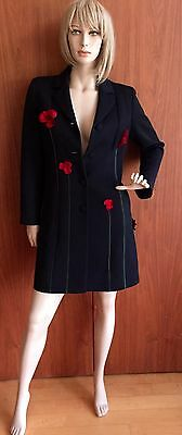 ae95f415c3f3b Moschino black coat Cheap and Chic long 3/4 length Sz8 designer, red roses