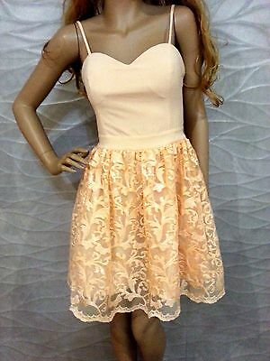 NWT bebe coral straps top flare lace sequin skirt floral mesh dress M medium 6 8