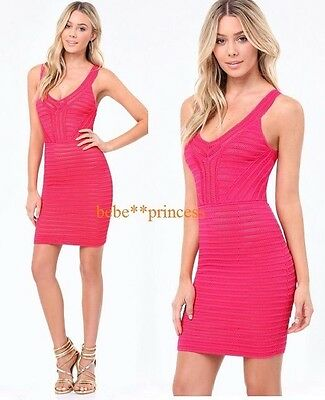 NWT bebe hot pink lace sweater maeve v neck bodycon top dress XS 0 2 sexy