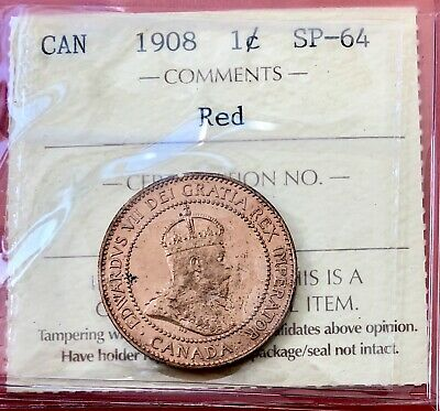 1908 Canada One Cent Large Penny Coin - Specimen - ICCS SP-64 Red