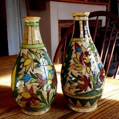 Iznik Persian Turkish Ceramic Pottery Painted Glazed Pair of Vases