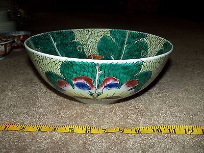 "11"" Punch Soup Bowl Famille Verte Green Cabbage Leaf Dragonfly Chinese Porcelain"
