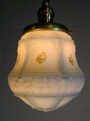 Chandelier Pendant Light Antique Hanging Fixture Milk Glass Shade Restored