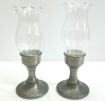 Pewter Candle Stick Holders Colonial Pewter by Boardman w/Hurricane Glass Globes