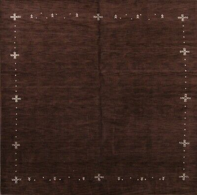 Hand Knoted Contemporary Dark Brown Modern Square 10x10 Gabbeh Oriental Area Rug