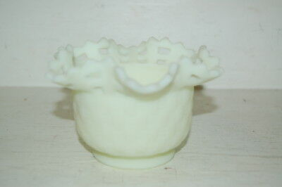 Fenton Pale Green Slag Glass Basket Weave Lattice Edged Bowl Dish Signed