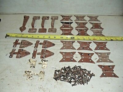 Old Vintage McKinney Butterfly Cabinet Hinge Hardware Latch Handle Flush Mount