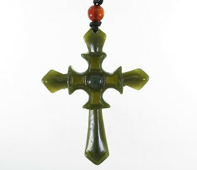 "2""China Certified Jewelry Nature Hetian Nephrite Jade Christian Cross Necklace"