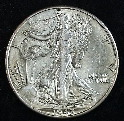 1942 P Walking Liberty Silver Half Dollar ☆☆ Circulated ☆☆ Cleaned 42A