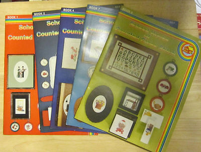 Lot of 5 School House of Counted Cross Stitch Pattern Booklets books 1 2 4 7 9