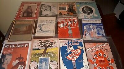 VINTAGE SHEET MUSIC 1905-1943 lot of 39, RARE pieces, musicals, collectibles